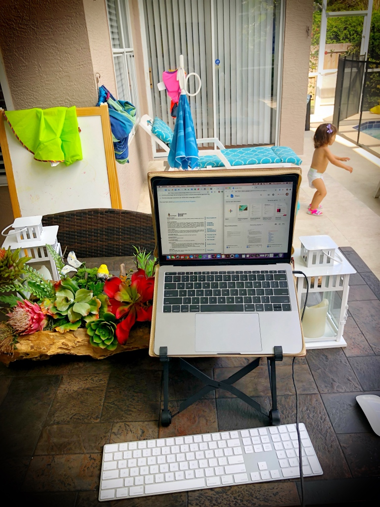 Working outside with daughter